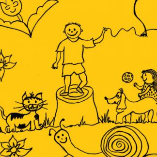 aranyos fogalakoztató színező füzetecske csigával cicával és vidám gyerekekkel